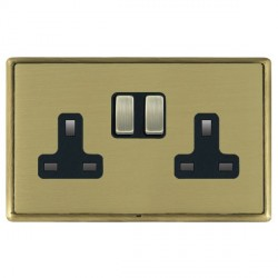 Hamilton Linea-Rondo CFX Antique Brass/Satin Brass 2 Gang 13A Switched Socket - Double Pole with Black Insert