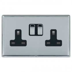 Hamilton Linea-Rondo CFX Bright Chrome/Bright Chrome 2 Gang 13A Switched Socket - Double Pole with Black ...