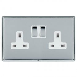 Hamilton Linea-Rondo CFX Bright Chrome/Bright Chrome 2 Gang 13A Switched Socket - Double Pole with White ...