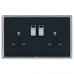 Hamilton Linea-Rondo CFX Bright Chrome/Piano Black 2 Gang 13A Switched Socket - Double Pole with Black Insert