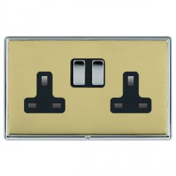 Hamilton Linea-Rondo CFX Bright Chrome/Polished Brass 2 Gang 13A Switched Socket - Double Pole with Black Insert