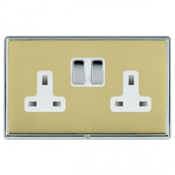 Hamilton Linea-Rondo CFX Bright Chrome/Polished Brass 2 Gang 13A Switched Socket - Double Pole with White Insert