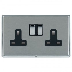 Hamilton Linea-Rondo CFX Bright Chrome/Satin Steel 2 Gang 13A Switched Socket - Double Pole with Black Insert