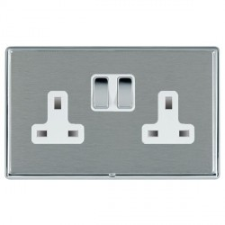 Hamilton Linea-Rondo CFX Bright Chrome/Satin Steel 2 Gang 13A Switched Socket - Double Pole with White Insert