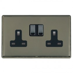 Hamilton Linea-Rondo CFX Black Nickel/Black Nickel 2 Gang 13A Switched Socket - Double Pole with Black Insert
