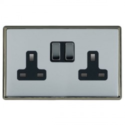 Hamilton Linea-Rondo CFX Black Nickel/Bright Steel 2 Gang 13A Switched Socket - Double Pole with Black Insert