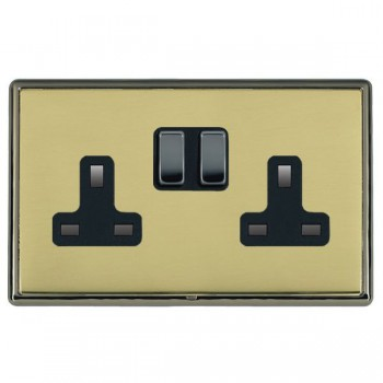 Hamilton Linea-Rondo CFX Black Nickel/Polished Brass 2 Gang 13A Switched Socket - Double Pole with Black Insert