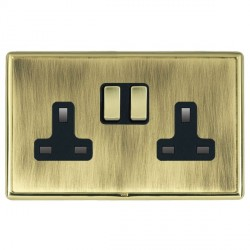 Hamilton Linea-Rondo CFX Polished Brass/Antique Brass 2 Gang 13A Switched Socket - Double Pole with Black Insert