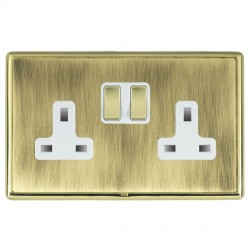 Hamilton Linea-Rondo CFX Polished Brass/Antique Brass 2 Gang 13A Switched Socket - Double Pole with White Insert