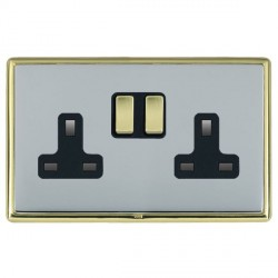 Hamilton Linea-Rondo CFX Polished Brass/Bright Steel 2 Gang 13A Switched Socket - Double Pole with Black Insert