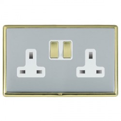 Hamilton Linea-Rondo CFX Polished Brass/Bright Steel 2 Gang 13A Switched Socket - Double Pole with White Insert