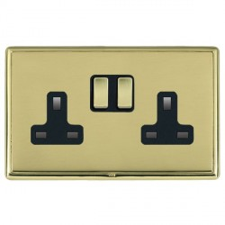 Hamilton Linea-Rondo CFX Polished Brass/Polished Brass 2 Gang 13A Switched Socket - Double Pole with Black Insert