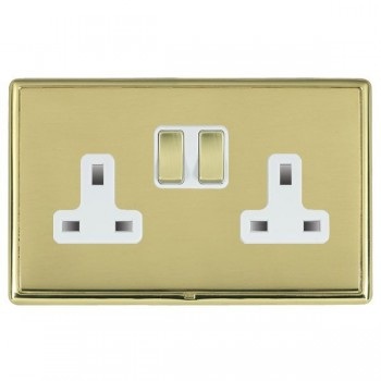 Hamilton Linea-Rondo CFX Polished Brass/Polished Brass 2 Gang 13A Switched Socket - Double Pole with White Insert