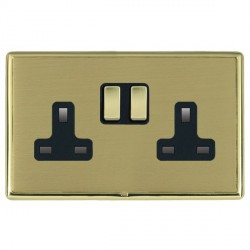 Hamilton Linea-Rondo CFX Polished Brass/Satin Brass 2 Gang 13A Switched Socket - Double Pole with Black Insert