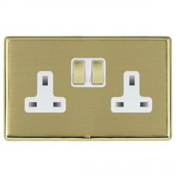 Hamilton Linea-Rondo CFX Polished Brass/Satin Brass 2 Gang 13A Switched Socket - Double Pole with White Insert
