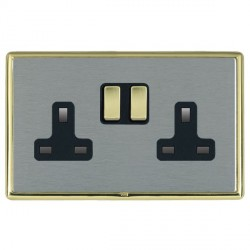 Hamilton Linea-Rondo CFX Polished Brass/Satin Steel 2 Gang 13A Switched Socket - Double Pole with Black Insert