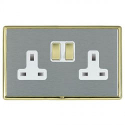 Hamilton Linea-Rondo CFX Polished Brass/Satin Steel 2 Gang 13A Switched Socket - Double Pole with White Insert