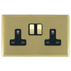 Hamilton Linea-Rondo CFX Satin Brass/Satin Brass 2 Gang 13A Switched Socket - Double Pole with Black Insert