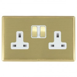 Hamilton Linea-Rondo CFX Satin Brass/Satin Brass 2 Gang 13A Switched Socket - Double Pole with White Insert
