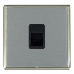 Hamilton Linea-Rondo CFX Satin Nickel/Satin Steel 1 Gang Telephone Master with Black Insert