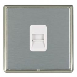 Hamilton Linea-Rondo CFX Satin Nickel/Satin Steel 1 Gang Telephone Master with White Insert