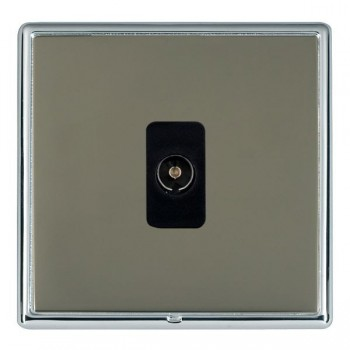 Hamilton Linea-Rondo CFX Bright Chrome/Black Nickel 1 Gang Non Isolated Television 1in/1out with Black Insert