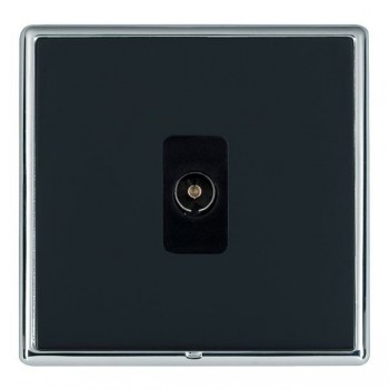 Hamilton Linea-Rondo CFX Bright Chrome/Piano Black 1 Gang Non Isolated Television 1in/1out with Black Insert