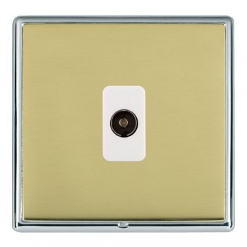Hamilton Linea-Rondo CFX Bright Chrome/Polished Brass 1 Gang Non Isolated Television 1in/1out with White Insert