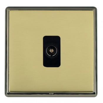 Hamilton Linea-Rondo CFX Black Nickel/Polished Brass 1 Gang Non Isolated Television 1in/1out with Black Insert