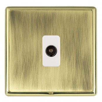 Hamilton Linea-Rondo CFX Polished Brass/Antique Brass 1 Gang Isolated Television with White Insert