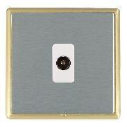 Hamilton Linea-Rondo CFX Satin Brass/Satin Steel 1 Gang Isolated Television with White Insert