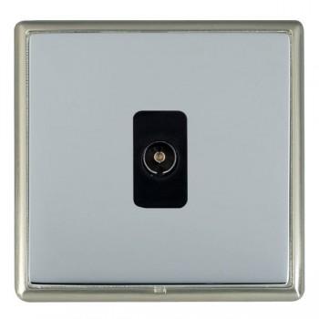 Hamilton Linea-Rondo CFX Satin Nickel/Bright Steel 1 Gang Isolated Television with Black Insert