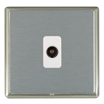 Hamilton Linea-Rondo CFX Satin Nickel/Satin Steel 1 Gang Isolated Television with White Insert