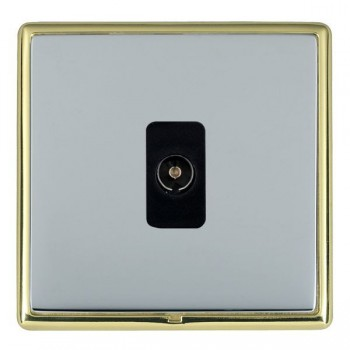 Hamilton Linea-Rondo CFX Polished Brass/Bright Steel 1 Gang Non Isolated Television 1in/1out with Black Insert