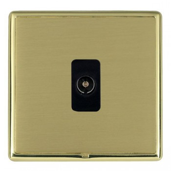 Hamilton Linea-Rondo CFX Polished Brass/Satin Brass 1 Gang Non Isolated Television 1in/1out with Black Insert