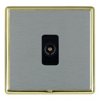 Hamilton Linea-Rondo CFX Polished Brass/Satin Steel 1 Gang Non Isolated Television 1in/1out with Black Insert