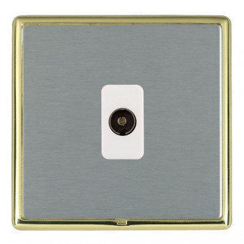 Hamilton Linea-Rondo CFX Polished Brass/Satin Steel 1 Gang Non Isolated Television 1in/1out with White Insert