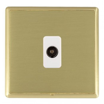 Hamilton Linea-Rondo CFX Satin Brass/Satin Brass 1 Gang Non Isolated Television 1in/1out with White Insert