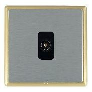 Hamilton Linea-Rondo CFX Satin Brass/Satin Steel 1 Gang Non Isolated Television 1in/1out with Black Insert