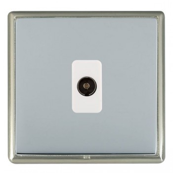 Hamilton Linea-Rondo CFX Satin Nickel/Bright Steel 1 Gang Non Isolated Television 1in/1out with White Insert
