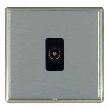 Hamilton Linea-Rondo CFX Satin Nickel/Satin Steel 1 Gang Non Isolated Television 1in/1out with Black Insert