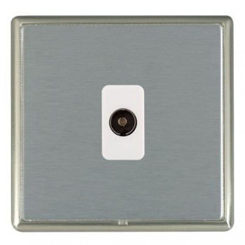 Hamilton Linea-Rondo CFX Satin Nickel/Satin Steel 1 Gang Non Isolated Television 1in/1out with White Insert