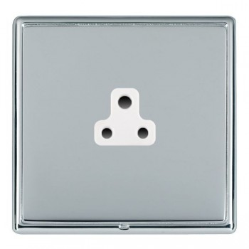 Hamilton Linea-Rondo CFX Bright Chrome/Bright Steel 1 Gang 2A Unswitched Socket with White Insert