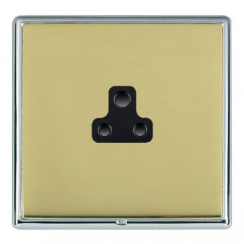 Hamilton Linea-Rondo CFX Bright Chrome/Polished Brass 1 Gang 2A Unswitched Socket with Black Insert
