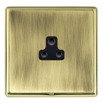 Hamilton Linea-Rondo CFX Polished Brass/Antique Brass 1 Gang 2A Unswitched Socket with Black Insert