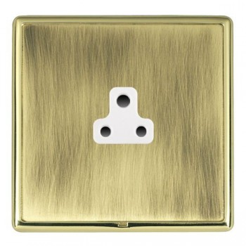 Hamilton Linea-Rondo CFX Polished Brass/Antique Brass 1 Gang 2A Unswitched Socket with White Insert