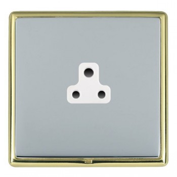 Hamilton Linea-Rondo CFX Polished Brass/Bright Steel 1 Gang 2A Unswitched Socket with White Insert