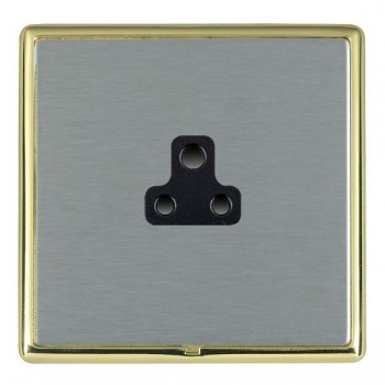 Hamilton Linea-Rondo CFX Polished Brass/Satin Steel 1 Gang 2A Unswitched Socket with Black Insert