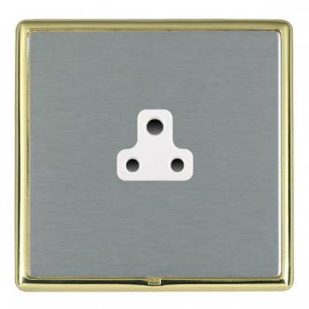 Hamilton Linea-Rondo CFX Polished Brass/Satin Steel 1 Gang 2A Unswitched Socket with White Insert