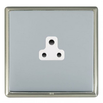Hamilton Linea-Rondo CFX Satin Nickel/Bright Steel 1 Gang 2A Unswitched Socket with White Insert